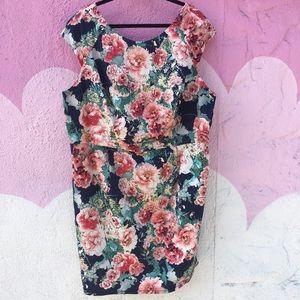 ABS By Allen Schwartz floral dress w/ keyhole back